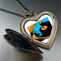 Necklace & Pendants - music disc playing photo large heart locket pendant necklace Image.