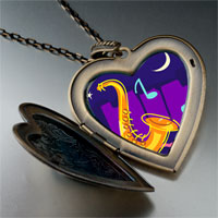 Necklace & Pendants - music saxophone photo large heart locket pendant necklace Image.