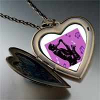 Necklace & Pendants - music saxophone player photo large heart locket pendant necklace Image.
