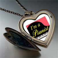 Necklace & Pendants - music am pianist photo large heart locket pendant necklace Image.