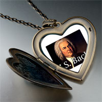 Necklace & Pendants - music j bach photo large heart locket pendant necklace Image.