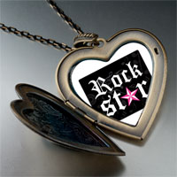 Necklace & Pendants - music rock star photo large heart locket pendant necklace Image.