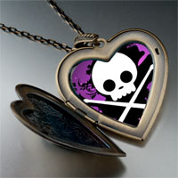Necklace & Pendants - music theme halloween skull photo large heart locket pendant necklace Image.
