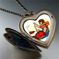 Necklace & Pendants - music theme playing drummer photo large heart locket pendant necklace Image.