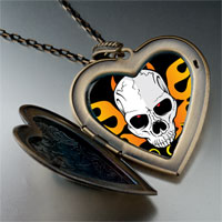 Necklace & Pendants - music theme horror halloween skull photo large heart locket pendant necklace Image.