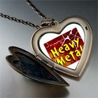 Necklace & Pendants - music theme heavy metal photo large heart locket pendant necklace Image.