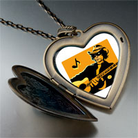 Necklace & Pendants - music theme country singer photo large heart locket pendant necklace Image.