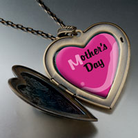 Necklace & Pendants - mother' s day elephant' s nose carrying pink flower heart locket pendant necklace heart Image.