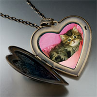 Necklace & Pendants - tabby cat photo italian large heart locket pendant necklace Image.