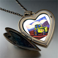 Necklace & Pendants - tractor photo italian large heart locket pendant necklace Image.
