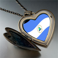 Necklace & Pendants - nicaragua flag photo italian large heart locket pendant necklace Image.