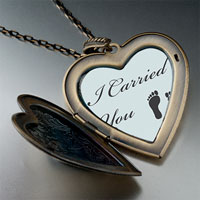 "Necklace & Pendants - "" i carried you"" &  feet heart locket pendantheart flower gifts for women necklace Image."