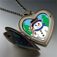 Necklace & Pendants - heart locket pendants christmas gifts snowman in woods large heart locket pendant necklace Image.