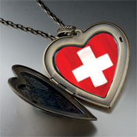 Necklace & Pendants - flag switzerland large heart locket pendant necklace Image.