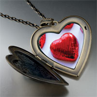 Necklace & Pendants - wrapped heart halloween candy large heart locket pendant necklace Image.