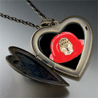 Necklace & Pendants - fire chief helmet large heart locket pendant necklace Image.