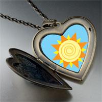 Necklace & Pendants - sun swirl large heart locket pendant necklace Image.