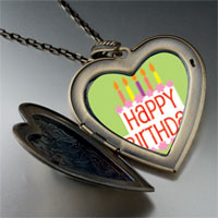 Necklace & Pendants - happy birthday green large heart locket pendant necklace Image.