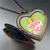Necklace & Pendants - happy birthday green large heart locket pendant necklace Image.