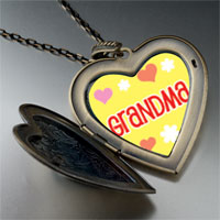 Necklace & Pendants - grandma hearts flowers large heart locket pendant necklace Image.