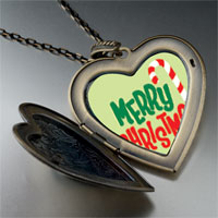 Necklace & Pendants - merry christmas halloween candy cane large heart locket pendant necklace Image.