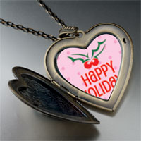 Necklace & Pendants - happy holidays holly large heart locket pendant necklace Image.