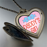 Necklace & Pendants - pink daddy' s girl large heart locket pendant necklace Image.