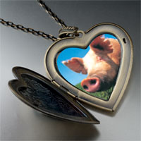 Necklace & Pendants - piggy face large heart locket pendant necklace Image.