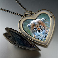 Necklace & Pendants - baby cheetah cub large heart locket pendant necklace Image.