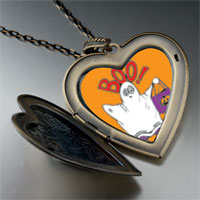 Necklace & Pendants - boo halloween ghost costume orange large heart locket pendant necklace Image.