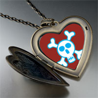 Necklace & Pendants - halloween skull crossbones large heart locket pendant necklace Image.