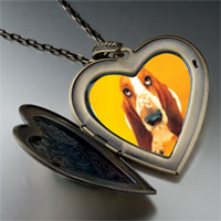 Necklace & Pendants - basset hound dog photo large heart locket pendant necklace Image.