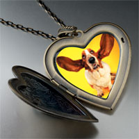 Necklace & Pendants - basset hound big ears large heart locket pendant necklace Image.