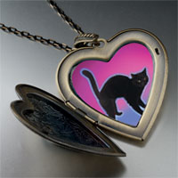 Necklace & Pendants - black cat arched back large heart locket pendant necklace Image.