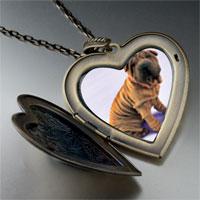 Necklace & Pendants - shar pei dog brown large heart locket pendant necklace Image.