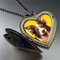 Necklace & Pendants - border collie dog large heart locket pendant necklace Image.