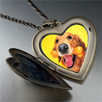 Necklace & Pendants - golden retriever bone large heart locket pendant necklace Image.
