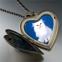 Necklace & Pendants - white fluffy cat large heart locket pendant necklace Image.