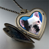 Necklace & Pendants - bull dog large heart locket pendant necklace Image.