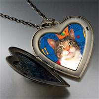Necklace & Pendants - white striped cat large heart locket pendant necklace Image.