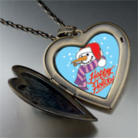 Necklace & Pendants - heart locket pendants happy holidays christmas gifts snowman large heart locket pendant necklace Image.