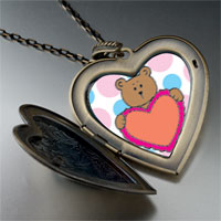 Necklace & Pendants - valentine teddy bear large heart locket pendant necklace Image.