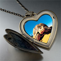 Necklace & Pendants - desert turtle large heart locket pendant necklace Image.