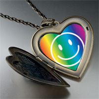 Necklace & Pendants - rainbow happy face large heart locket pendant necklace Image.