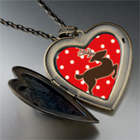 Necklace & Pendants - dancing christmas rudolph reindeer large heart locket pendant necklace Image.