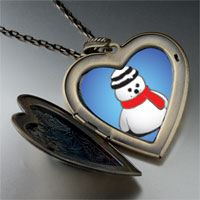 Necklace & Pendants - heart locket pendants christmas gifts snowman red scarf large heart locket pendant necklace Image.
