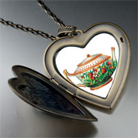 Necklace & Pendants - flower teapot large heart locket pendant necklace Image.