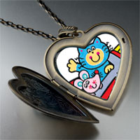 Necklace & Pendants - cat mouse cartoon large heart locket pendant necklace Image.