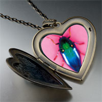 Necklace & Pendants - florescent bug large heart locket pendant necklace Image.