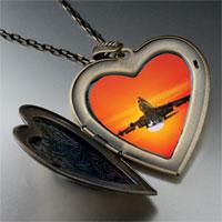 Necklace & Pendants - sunset airplane large heart locket pendant necklace Image.